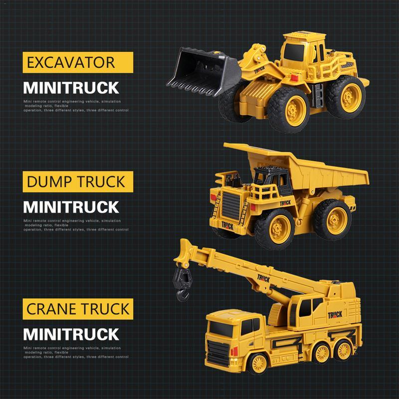 Enthousiast Innovatieve Mini Afstandsbediening Techniek Auto Prachtige Model 4-kanaals Bulldozer Crane Truck Speelgoed In Willekeurige Colo Structurele Handicaps