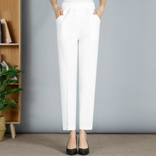 2019 Spring Summer Middle Aged Women Pants Elastic Waist Loose Casual Straight Pants Plus Size 5XL Pocket  Female Trousers spring summer harem pants middle aged womens high waist loose straight pants casual loose trousers plus size 5xl