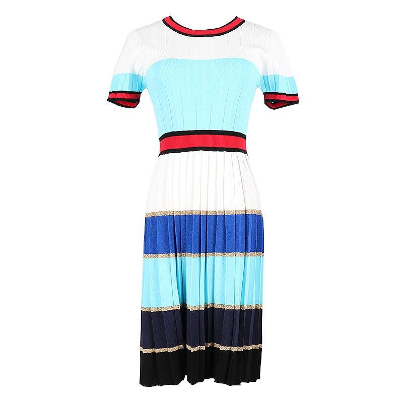 2018 nouvelle piste tricot robe d'été plissée femme mode à manches courtes couleur bloc rayé Chic robes pour femmes Vestidos