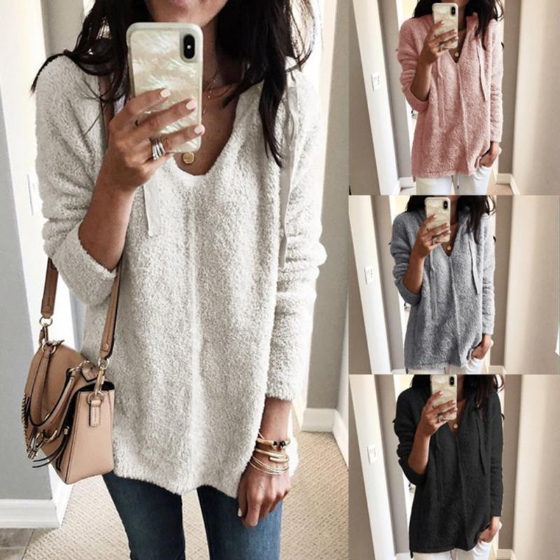 Fashion Women Solid Color V-neck Hooded Long Sleeve Sweater Plush Pullover