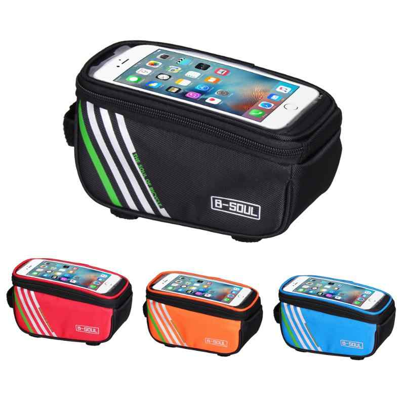 6inch Bicycle Cycling Bike Frame Front Tube Waterproof Mobile Phone Bag Mobile Phone With Headphone Hole Bike Accessories