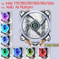 4 Copper Heatpipes CPU Cooler Heatsink Radiator Quiet 120mm Cooling Fan with RGB LED for Intel 775/1150/1151/1155/1156/1366 AMD