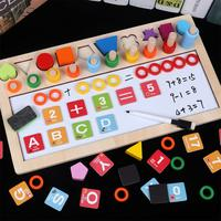 LeadingStar Multifunction Wooden Count Numbers Matching Building Blocks Early Learning Math Toy