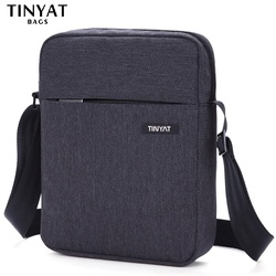TINYAT Brand Men's Crossbody Bag Pack Anti-Theft Men Bag Shockproof Male Messenger Bags Pad 9.7' Canvas Leather Shoulder Handbag