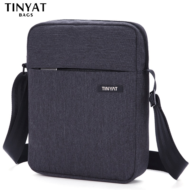 TINYAT Shockproof Menns Crossbody Bag Pack Skjult Glidelås Skuldertasker til 9,7 'Pute Male Handbag Canvas Leather Messenger Vesker