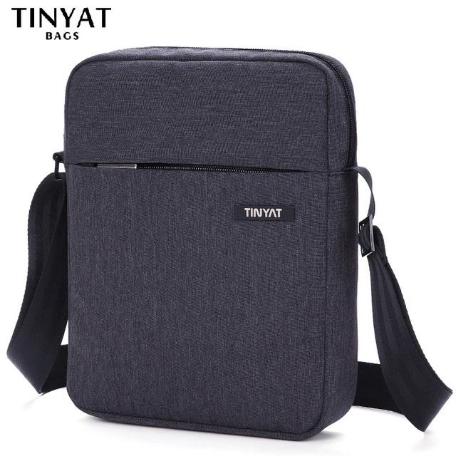 TINYAT Shockproof Men's Crossbody Bag pack hidden zipper Shoulder Bags for 9.7′ pad Male Handbag Canvas Leather Messenger Bags