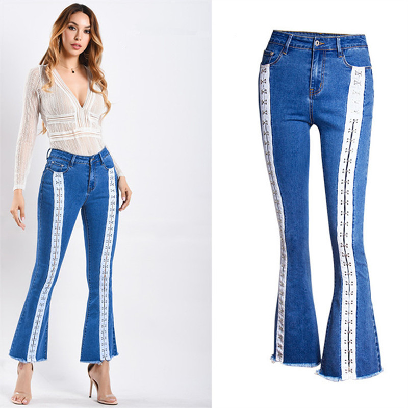 Plus Size  Sexy Vintage Casual Mom Jeans For Women Denim Flare Pents  Jeans For Women Bandage