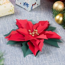 Pack Of 3pc Christmas Decoration Poinsettia Flower Artificial Tree Decorations Xmas Home