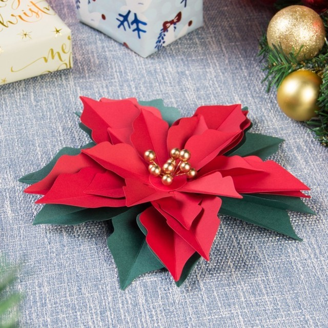 Pack Of 3pc Christmas Decoration Poinsettia Christmas Flower