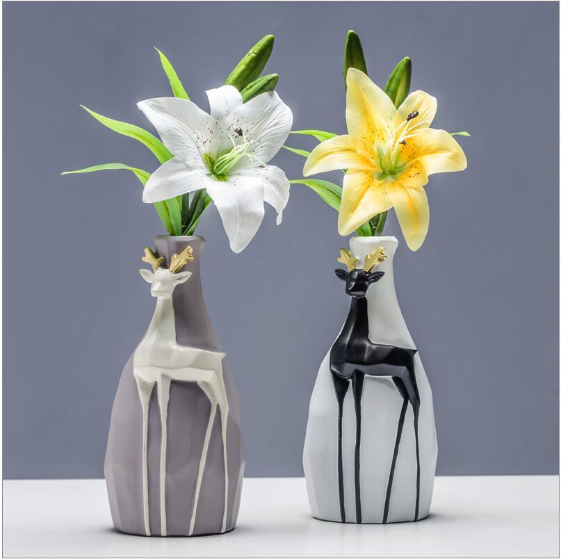 Resin Animal Elk Vase Cute Elves Flower Fairy Living Room Desktop Crafts Furnishings Home Accessories