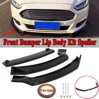 3pcs Car Front Lip Bumper Spoiler Splitters Body Kit For For Ford For Fusion For Mondeo 2013 2016 Carbon Fiber Look/Gloss Black