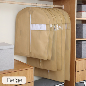 Image 4 - Clothes Dust Cover Non woven fabric Case for Household Hanging type Coat Suit Protect Storage Bag Wardrobe Organizer AQ065