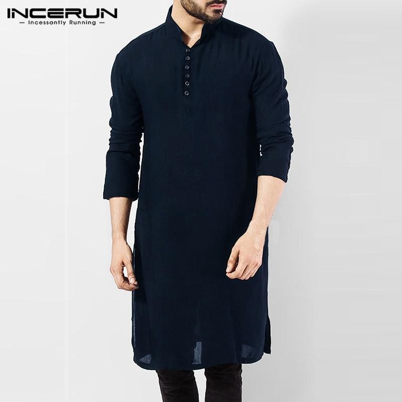 26de7e791154ae9 INCERUN повседневная мужская рубашка с длинным рукавом хлопковая однотонная  мужская длинная рубашка Винтаж индийская Курта костюм