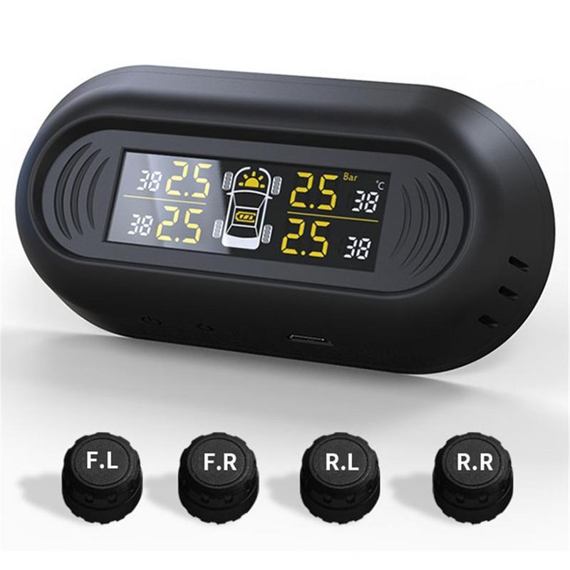 Windshield Wireless Digital Car TPMS Tire Pressure Monitoring System Mini Gauge Solar Power Temperature LCD Monitor BAR PSI DIY