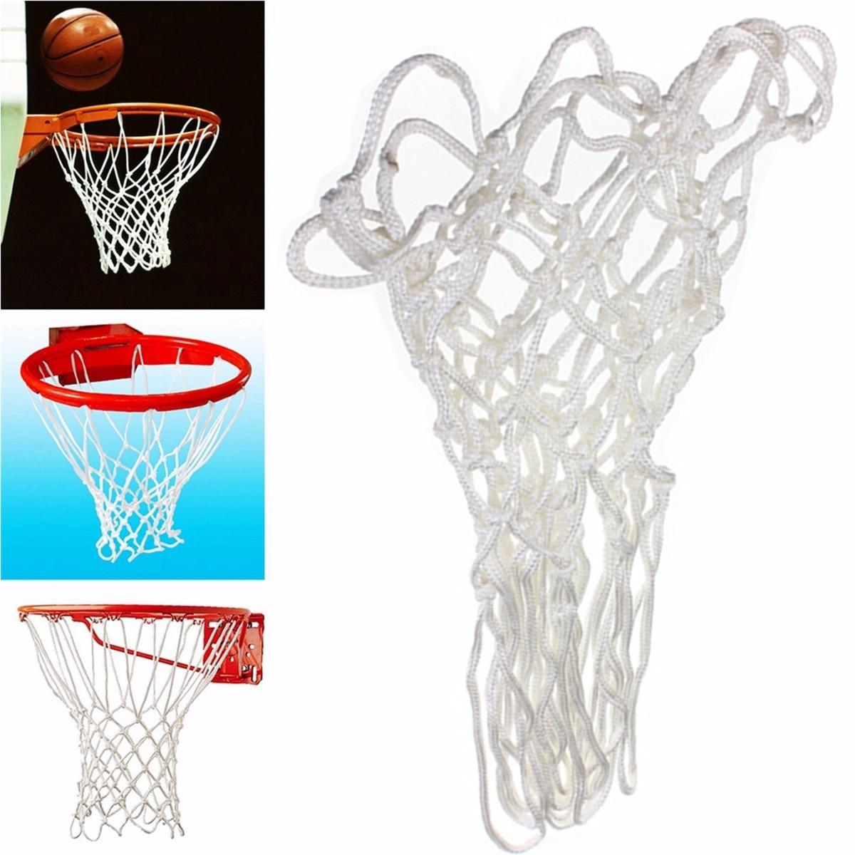 White Durable Nylon 4mm 12 Loops Basketball Net Durable Rugged Standard Nylon Thread Sports Basketball Hoop Mesh Net