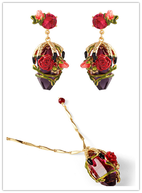Free shippingRed rose  necklace long sweater chain female enamel glaze roses stone stud earrings ear clip