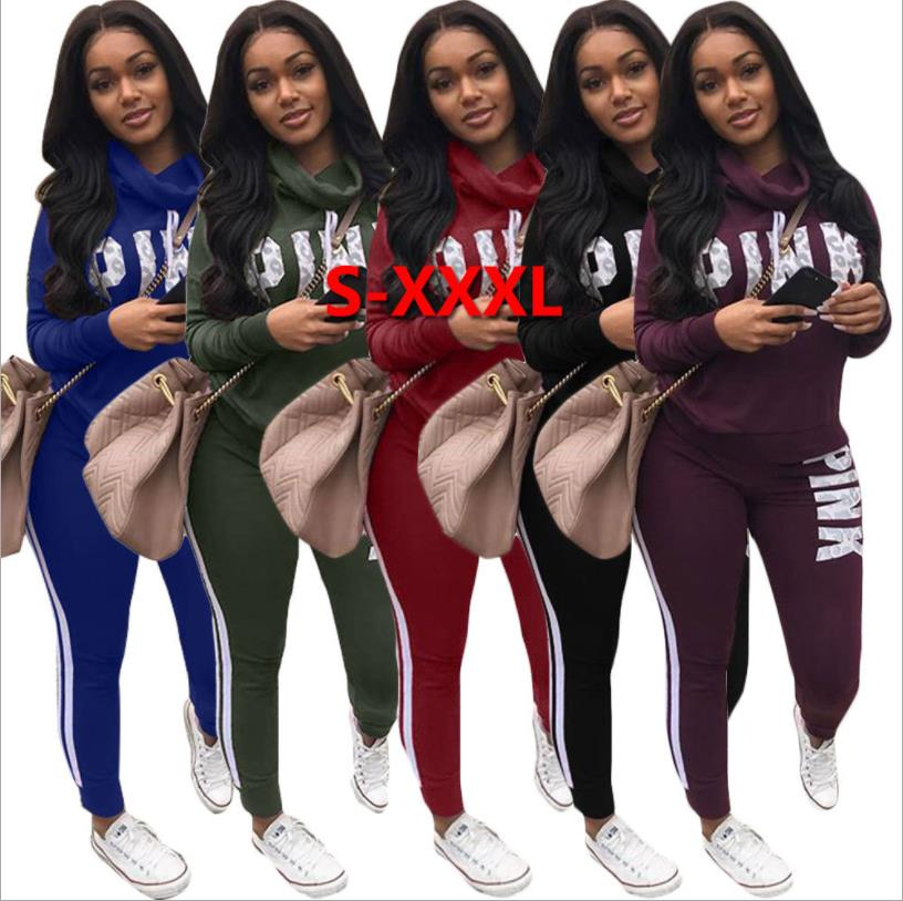 Letters Print 2 Piece Set Women Pant And Top Autumn Plus Size Casual Outfit Sweat Suits Two Piece Sweatshirt Tracksuit
