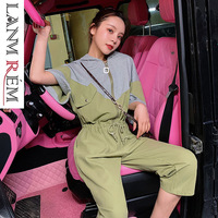 LANMREM 2019 Summer Clothes For Women New Korea Style Contrast Color Split Joint Cotton Jumpsuit Loose Ankle legnth Pants YH327