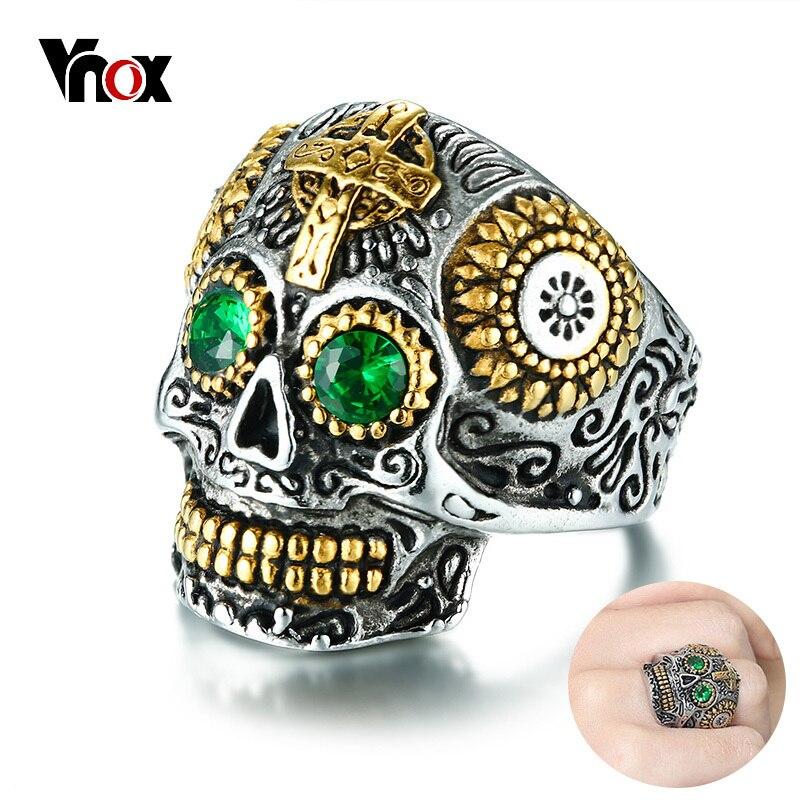 Vnox Anéis para Os Homens de Punk Do Crânio Do Açúcar Mexicano Verde Strass Olhos Dentes de Ouro Anel com Cruz Gótico de Aço Inoxidável Masculino anillo