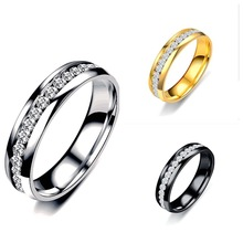 3 Colors Never Fade Women Wedding Rings Stainless Steel Crystal Stone Ring Titanium Steel Engagement CZ Stone Jewelry engagement rings for women wedding jewelry big crystal stone ring stainless steel jewelry