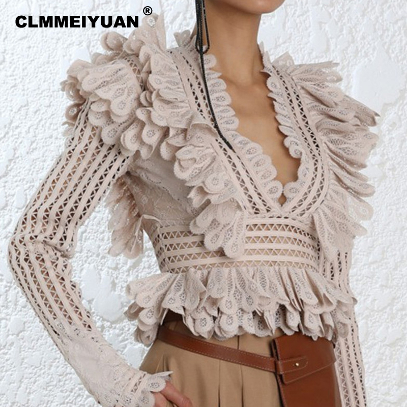 2019 Spring Runway Women Lace Blouses Elegant Long Sleeve Ruffles Blouse Sexy Hollow Out V Neck