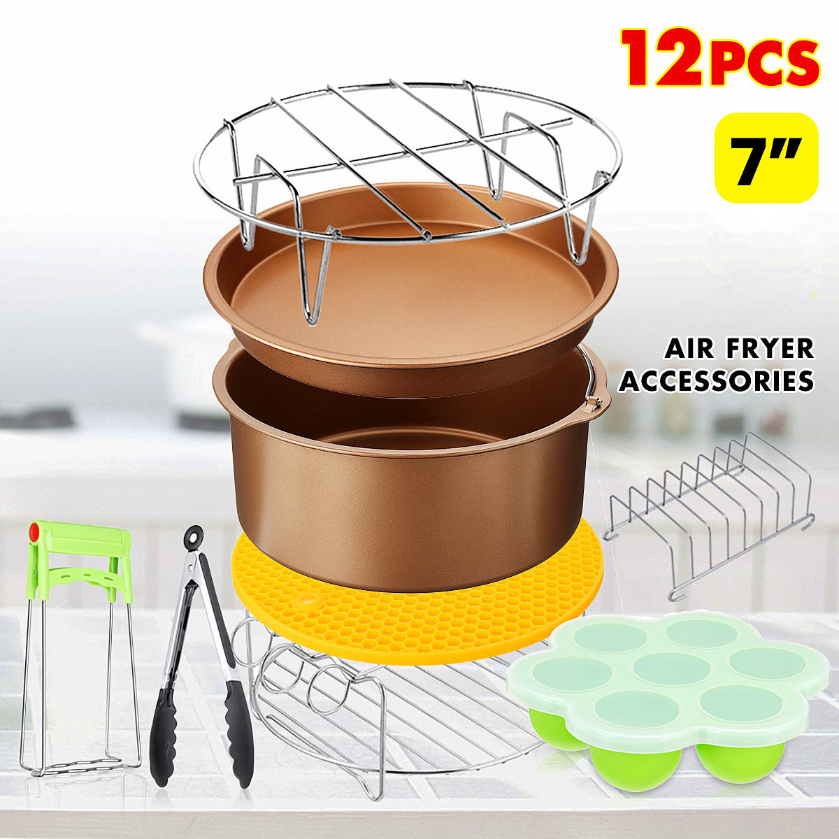 Newest 12Pcs 7 Inch Air Fryer Accessories Kitchen Cooking Baking Pan Set For 3.2-6.8QT Air Fryer Home Tools High Quality