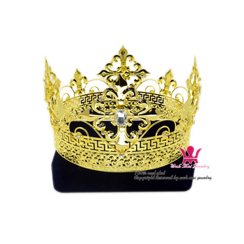 Men Tiara King Crown Imperial Medieval Crowns cosplay Model Show Hair Jewelry Gold Metal Prince Hairwear Vintage crowns Mo200