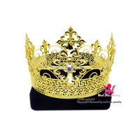 Men Tiara King Crown Imperial Medieval Crowns cosplay Model Show Hair Jewelry Gold Metal Prince Hairwear Vintage crowns Mo200