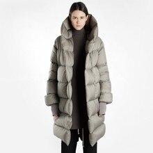 Womens Down Jacket Women Hooded Long Sleeve Duck Down Jacket Women Long Down Coat Thick Winter Jackets Black Oversize New ls283 недорого