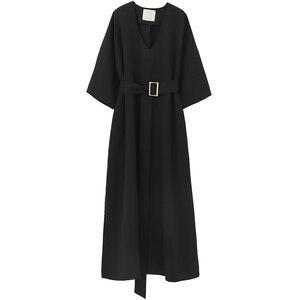 Image 5 - [EAM] 2020 חדש אביב קיץ V צוואר חצי שרוול שחור רופף מותניים תחבושת כיס ארוך גדול גודל שמלת נשים אופנה גאות JT063
