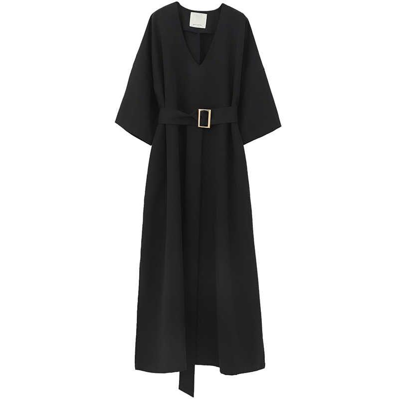[EAM] 2020 nowa wiosna lato dekolt pół rękawa czarny luźny bandaż w talii kieszeń długi duży rozmiar sukienka kobiety moda fala JT063