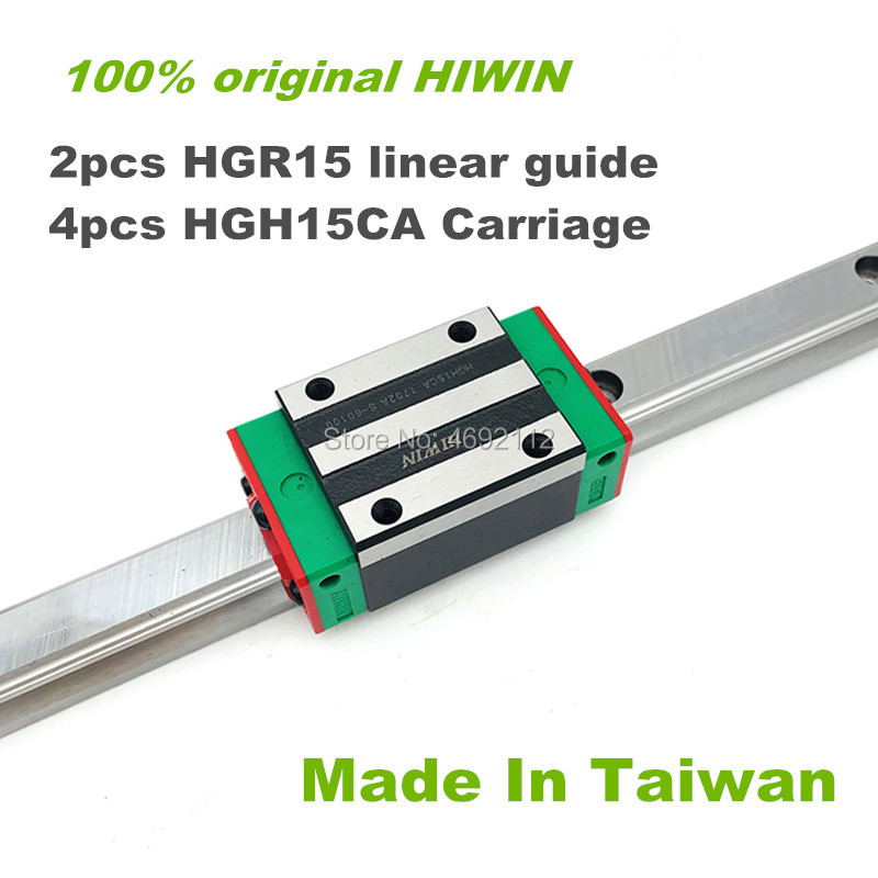 100% HIWIN linear guide rail 2pcs HGR15 200 250 300mm  linear guide with 4 pcs HGH15CA linear block carriage CNC parts100% HIWIN linear guide rail 2pcs HGR15 200 250 300mm  linear guide with 4 pcs HGH15CA linear block carriage CNC parts