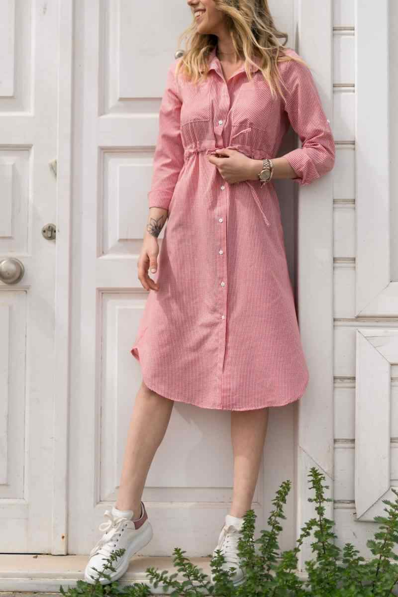 Xhan женское Красное Клетчатое кружевное платье с поясом 8YXK6-30467-04