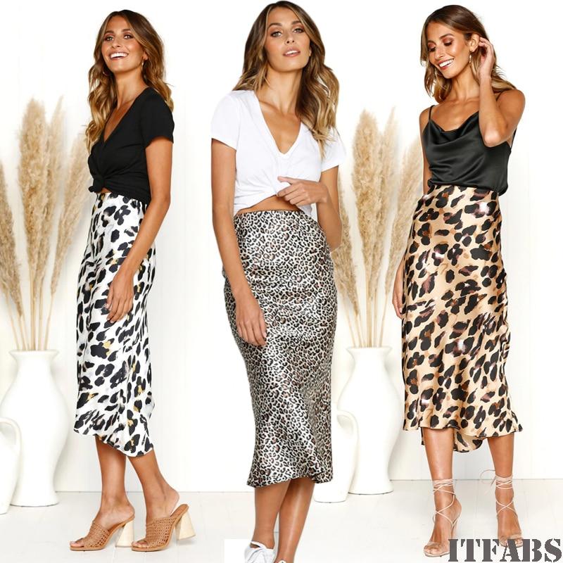Fashion Women Leopard Bodycon Office OL Party High Waist Bandage Long Pencil Skirt Elegant jupe femme streetwear