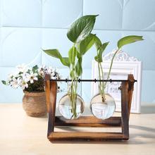 Maceta de vidrio y madera para terrario, mesa de escritorio, planta hidropónica, maceta para bonsái, maceta colgante con bandeja de madera para decoración del hogar