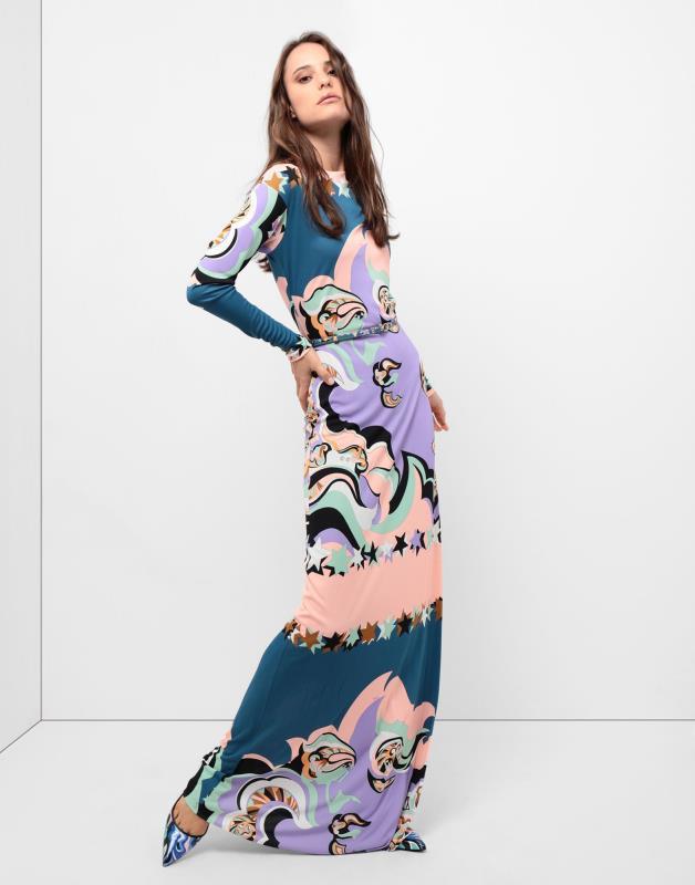 2019 Nieuwe Modeshow lange mouwen mode o hals zijde slanke jurk-in Jurken van Dames Kleding op  Groep 1
