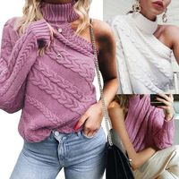 Women Knitted One Shoulder Long Sleeve Sweater