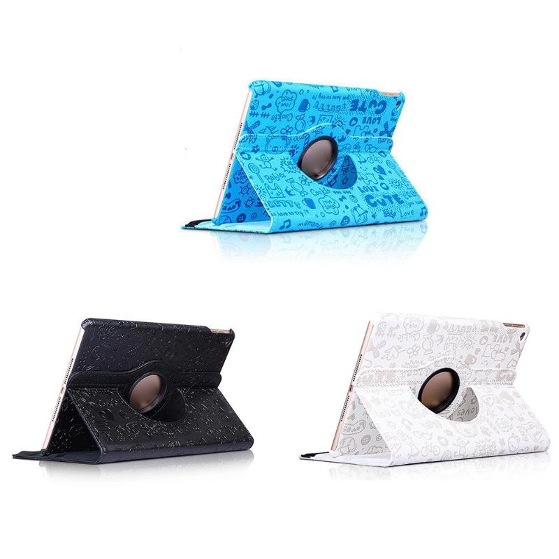 360 Degree PU Leather Rotation Flower Printed Case Cover Stand Tablet Accessories for iPad for Rotating iPad 5/6 Air 1/2 Case