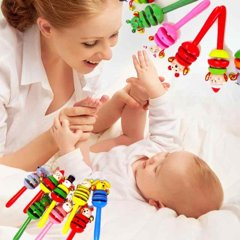 1 adet Sevimli Ahşap Sopa El Sallamak Çan Bebek Çıngıraklar Jingle Bells Bebek Çalkalayıcı Çıngırak Yüzük eğitici oyuncak noel hediyesi