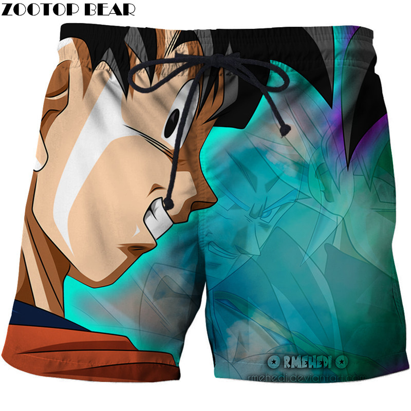 Fashion Men Short Summer Beach Dragonball Goku Male Casual Board Shorts Breathable Quick Dry 3d Print Anime Swimsuit Zootop Be
