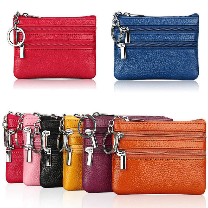 Soft Unisex Men Women Card Coin Key Holder Zipper Purse Leather Wallet Pouch Small Change Soft Bag