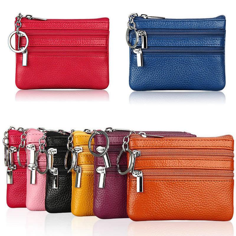 Soft Unisex Men Women Card Coin Key Holder Zipper Purse Leather Wallet Pouch Small Change Soft Bag