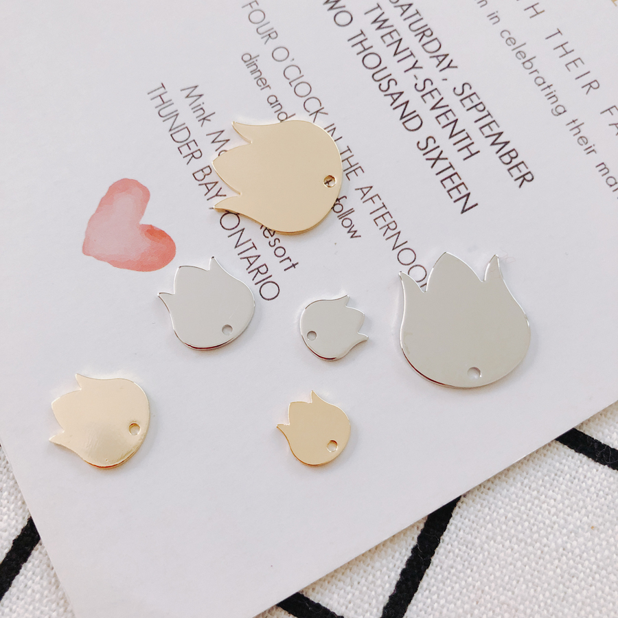 White K Gold Eardrop Accessories Metal Piece Pendant Earring Necklace Charms Diy Making Material Jewelry Finding 10pcs