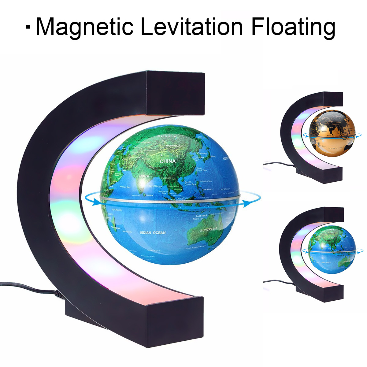 все цены на C Shape Magnetic Levitation Montessori Geography Globe Floating World Map Tellurion LED Light Terrestre Children Learning Toys онлайн