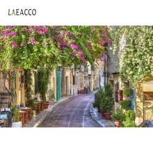Laeacco Vintage Town Street Window Flower Photography Background Customized Photographic Backdrops For Photo Studio