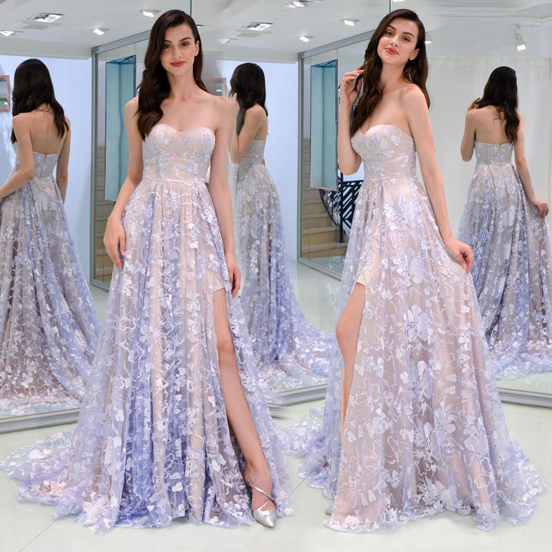 Prom Dresses Long 2018 Women's A line Sweetheart Sleeveless Leg Slit Sexy Purple Backless Special Occasion Party Gown Gala Dress
