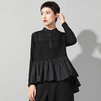 Low High Design England Style Black Blouse Women Peplum Top 2019 Spring New Fashion Neck opening Casual Long Sleeve Blouse Women