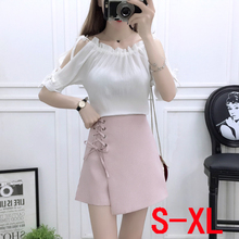 Korean fashion women summer wear chiffon blouse top tall waist of wide-legged short skirted pants two-piece size S-XL clothes