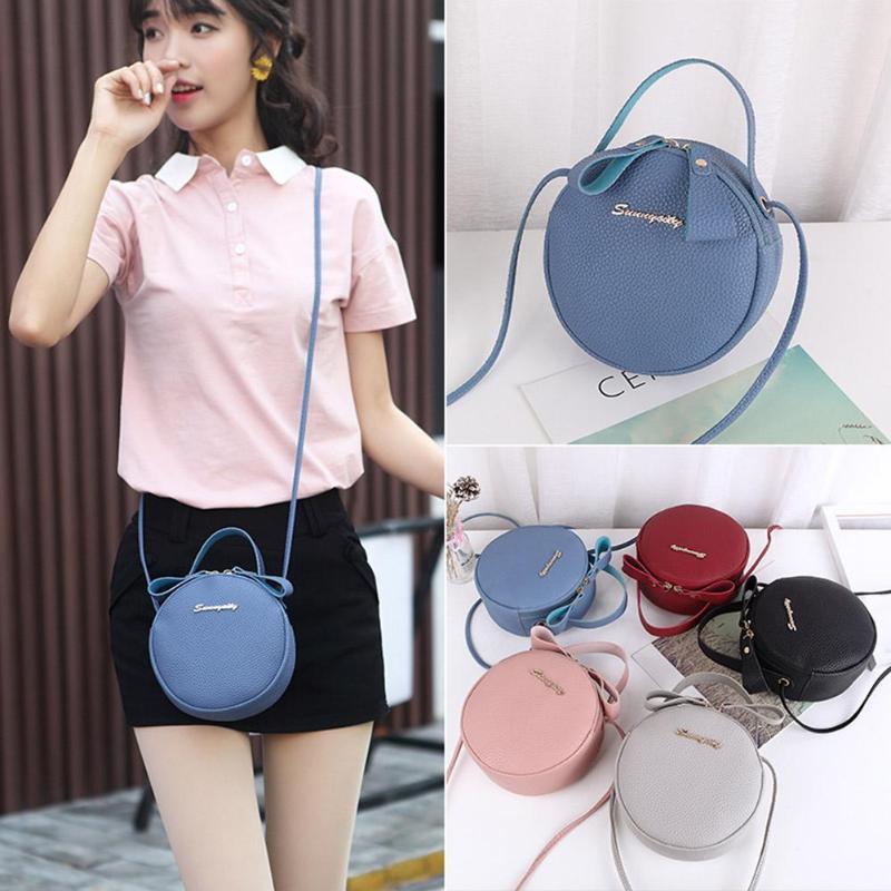Slung Mobile Phone Bag 2019 New Summer Fashion PU Small Round Bag for Female Personality Shoulder Bag Litchi Rhyme Bag - 6
