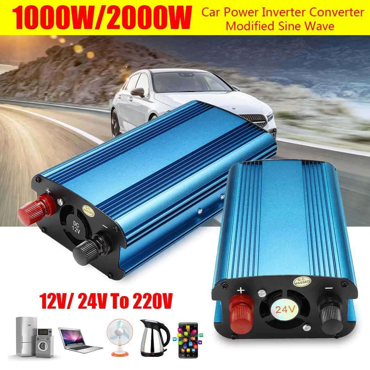 P EAK 2000/1000W Car Power Solar  Inverters Converter DC 12V/24V to AC 220V Charger LED Modified Sine Wave Voltage TransformerP EAK 2000/1000W Car Power Solar  Inverters Converter DC 12V/24V to AC 220V Charger LED Modified Sine Wave Voltage Transformer